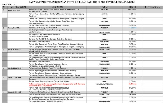 Jadwal Kegiatan Pesta Kesenian Bali XXXV